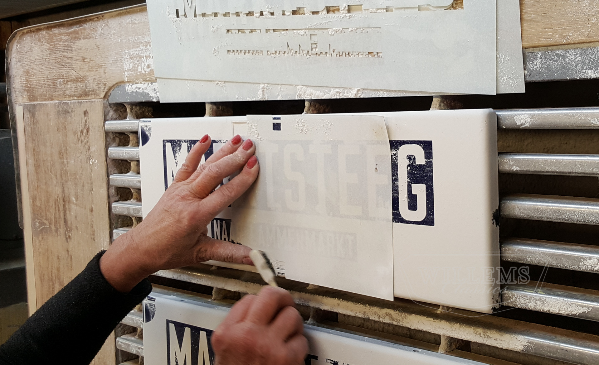 Authentic stenciled enamel signs